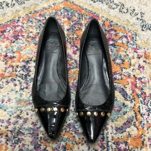 Tory Burch Black Leather pointed toe flats size 8